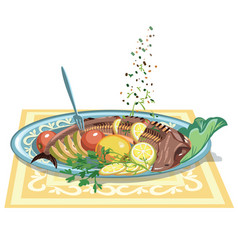 Hand drawn festive fish dish template vector