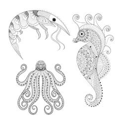 Hand drawn zentangle Shrimp Sea Horse Octopus vector image vector image