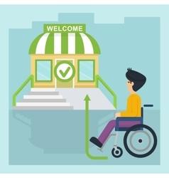 health care man in wheelchair go vector image vector image