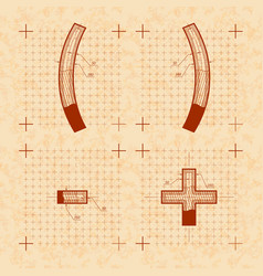 Medieval inventor sketches of special letters vector