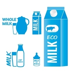 Milk logo and design elements for packaging vector image