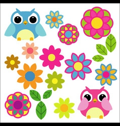 owls and flowers vector image