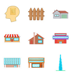 Real property icons set cartoon style vector