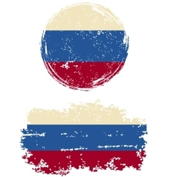 Russian round and square grunge flags vector image