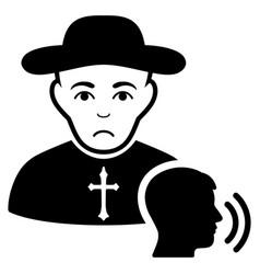 Sad believer confession black icon vector