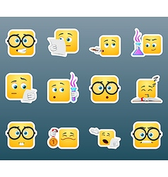 Scientist smile stickers set vector image vector image