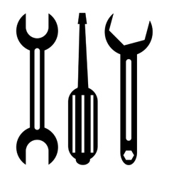 Screwdriver and wrench icon simple style vector image