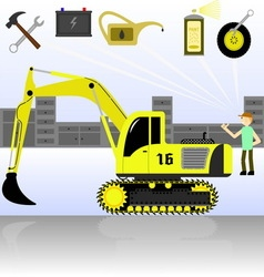 Service and diagnostics excavator vector