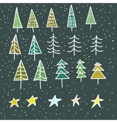 set of 15 different fir christmas trees hand vector image vector image
