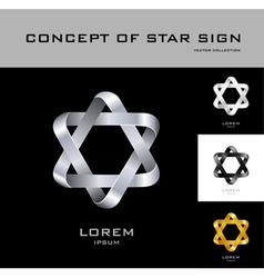 Six point star logo design template black white vector