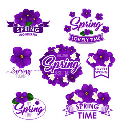 Springtime greeting quotes flowers design vector