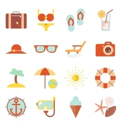 Summer vacation color beach resort accessorize vector image vector image