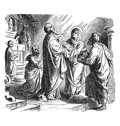 The prophecy of simeon at the presentation of vector