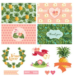 Tropical floral wedding set vector