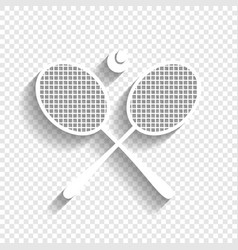 Two tennis racket with ball sign white vector