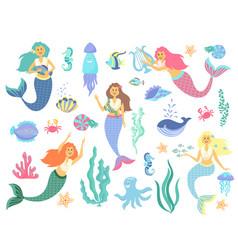 Underwater life collection mermaid sea animals vector