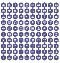 100 tv icons hexagon purple vector