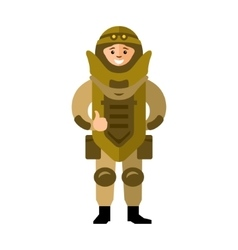 Demolitions man in bomb suit flat style vector