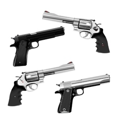 Weapon pistol and revolver vector