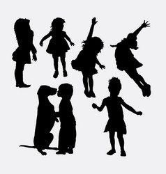 Kid playing action silhouette vector