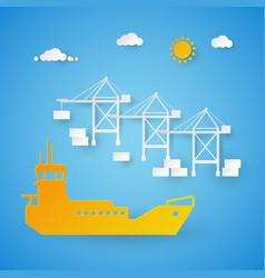 Cargo ship loading in shipping port harbor dock vector
