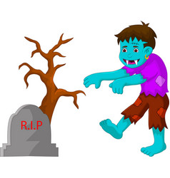 Cartoon zombie walking in cemetery vector