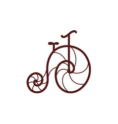 old retro bicycle line art bike vector image