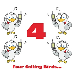 Four calling birds cartoon vector