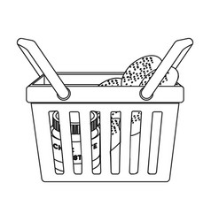 Basket with food e-commerce single icon in vector