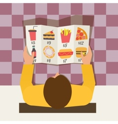 Lunch time man ordering meal in fast food cafe vector