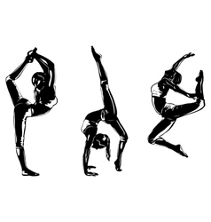 Three sports women silhouettes vector