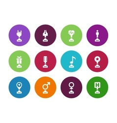 Trophy cup circle icons on white background vector