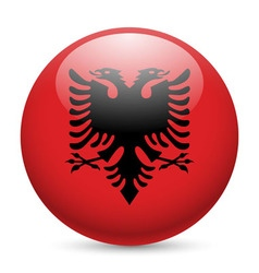 Round glossy icon of albania vector