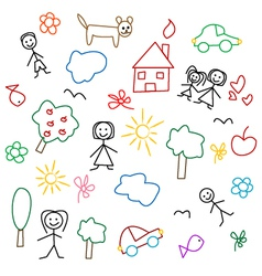 Children drawing seamless pattern vector image