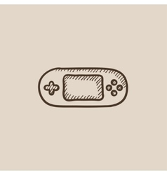 Game console gadget sketch icon vector