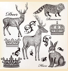 animals collection drawn in vintnage style vector image vector image