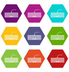 black computer keyboard icon set color hexahedron vector image vector image