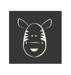 Black square picture of zebra animal vector