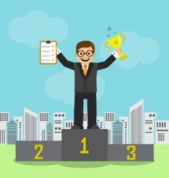 Businessman achieved success and recognition vector