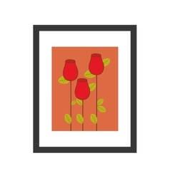 Colorful picture frame with roses bud vector