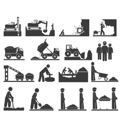 construction earthworks icons mining vector image vector image