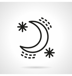 Crescent with stars black line design icon vector image vector image