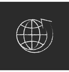 Earth and arrow around icon drawn in chalk vector image