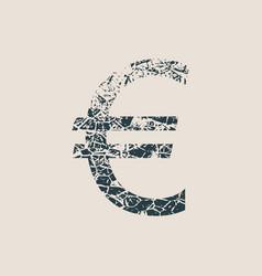 Euro symbol grunge style icon vector
