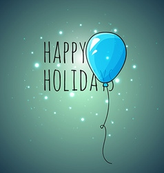 Festive card with blue balloons departing spheres vector