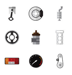 Flat icon parts set of cambelt belt conrod and vector
