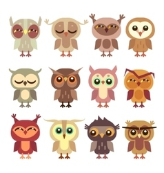 Funny cartoon owls set vector