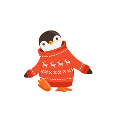 Funny cute penguin toon character in a red vector