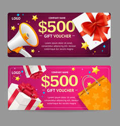 gift voucher card set vector image vector image