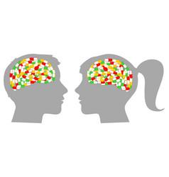 Heads profiles full of pills vector
